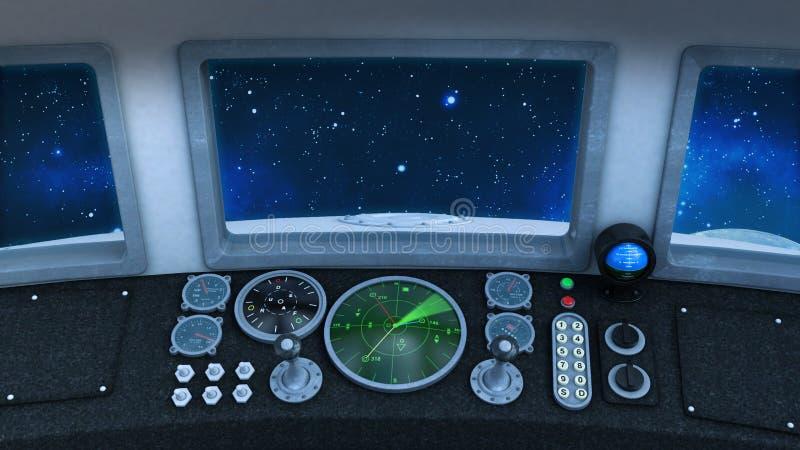 Kokpit retro UFO statek kosmiczny w głębokiej przestrzeni, rocznika statku kosmicznego lataniu w wszechświacie z planetą i gwiazd royalty ilustracja