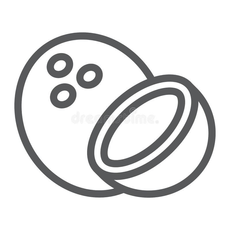 Koks kreskowa ikona, owoc i coco, tropikalny znak ilustracja wektor
