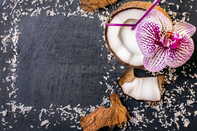 Koks z koks p?atkami i orchidea na popielatym kamiennym tle zdjęcia stock