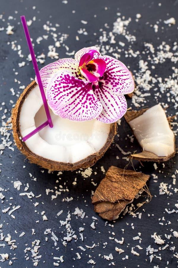 Koks z koks p?atkami i orchidea na popielatym kamiennym tle obrazy stock
