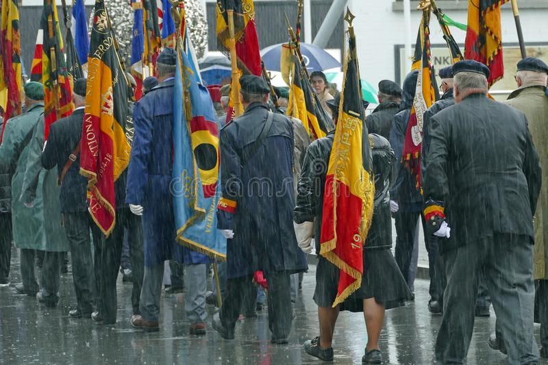 Koksijde, West Flanders Province, Belgium, June 10, 2019: commemoration of the nearly 8,000 French Zoeaven who fell in Westhoek in stock images