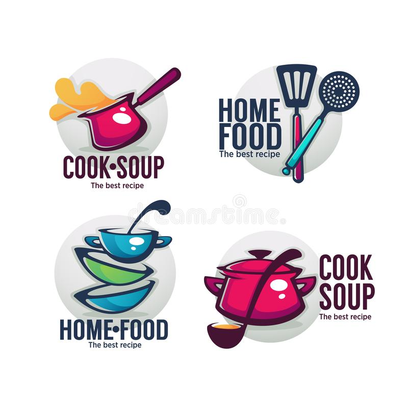 Koksoep en huisvoedsel, vectorinzameling van komhoogtepunt van smakelijk stock illustratie