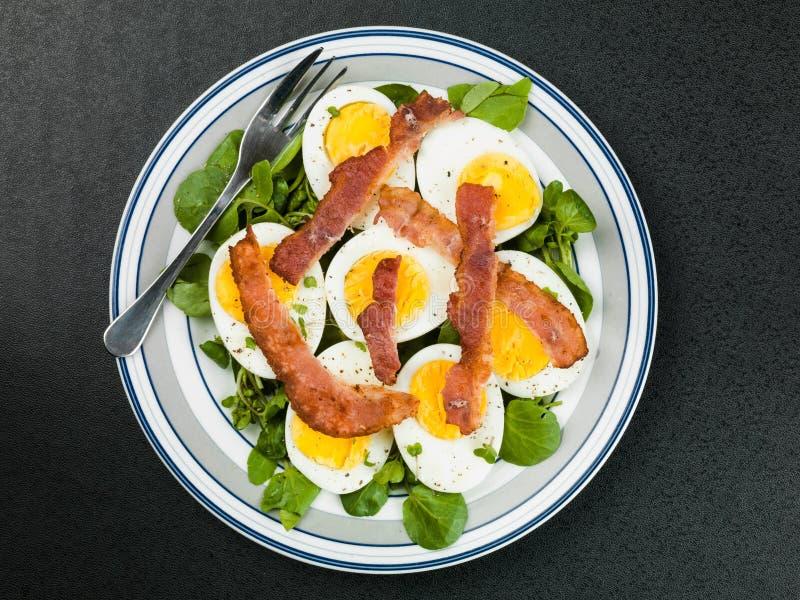 Kokt ägg och frasig baconsallad med källkrasse royaltyfria foton