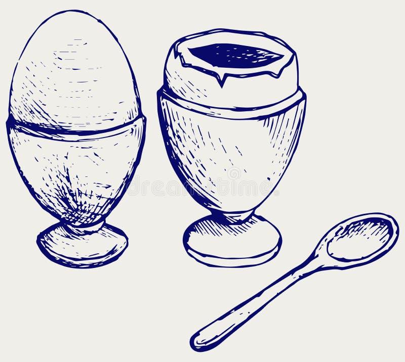 kokt frukostägg royaltyfri illustrationer