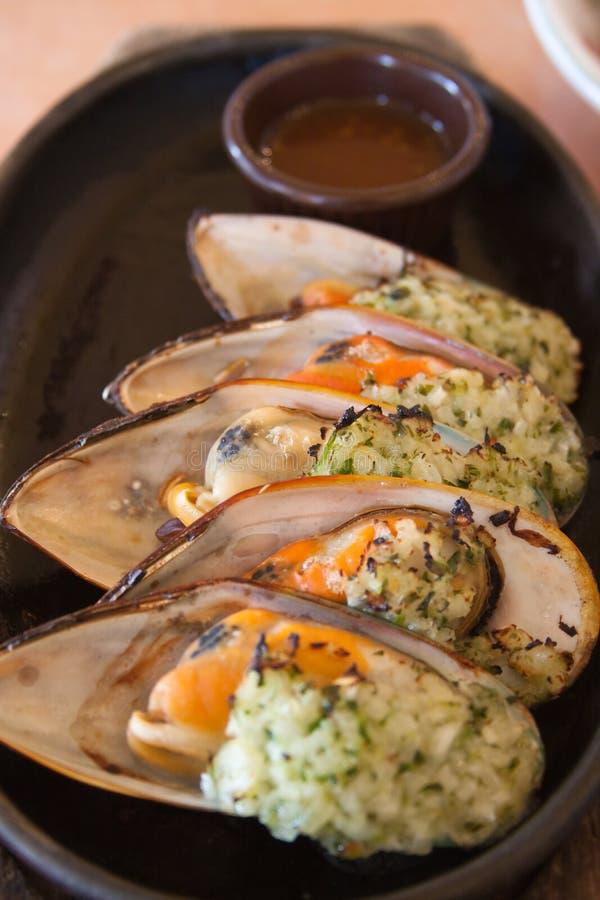 kokt musslor arkivfoto