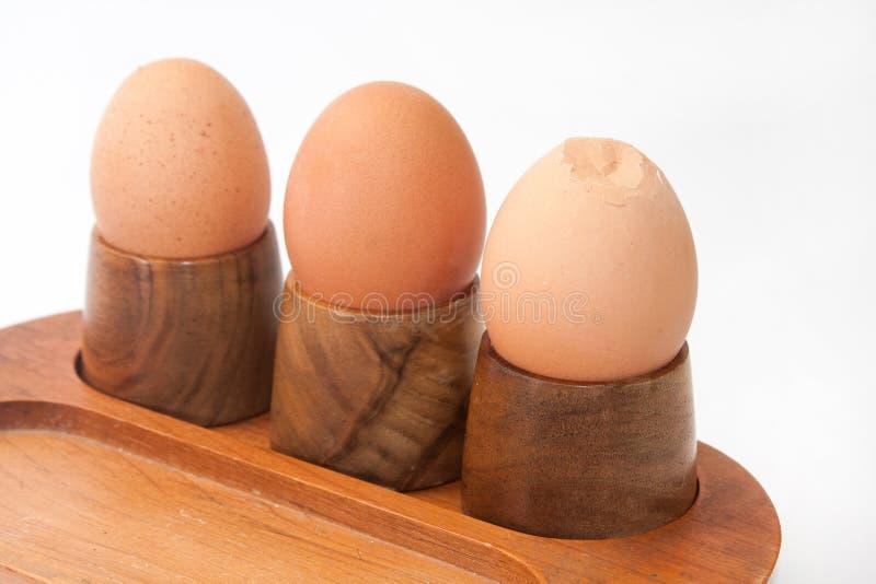 Kokta ägg i ägghållare med det spruckna ägget arkivbild