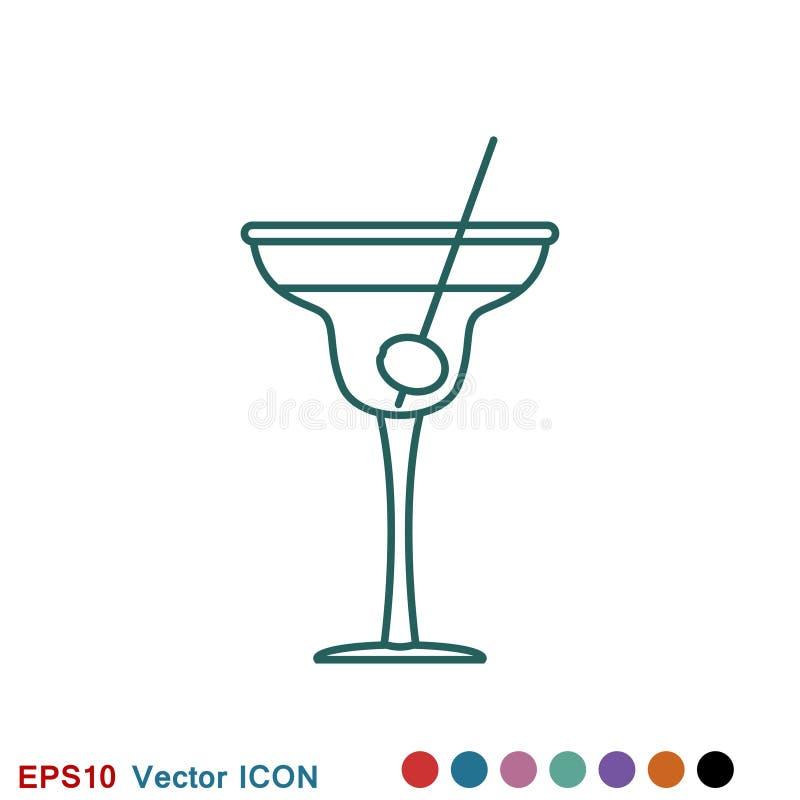 Koktajl ikony wektor, piktogram odizolowywaj?cy na tle Symbol, logo ilustracja ilustracja wektor