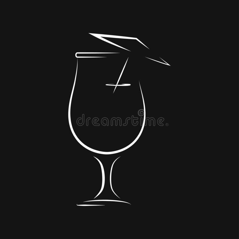 Koktajl ikony wektor, piktogram odizolowywaj?cy na tle Symbol, logo ilustracja royalty ilustracja