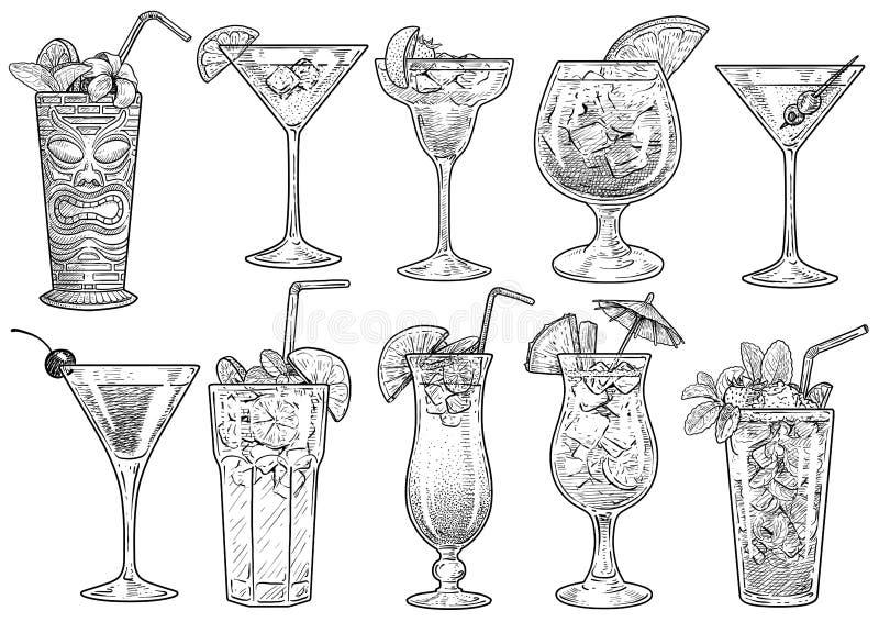 Koktajl ilustracja, rysunek, rytownictwo, atrament, kreskowa sztuka, wektor zdjęcia stock