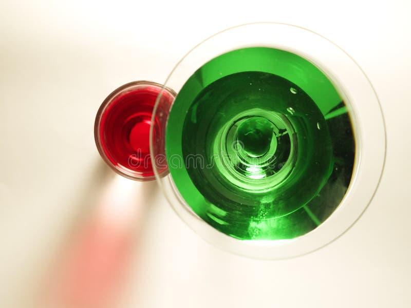 Koktajl kolekcja Zielony Martini i buziak - fotografia stock