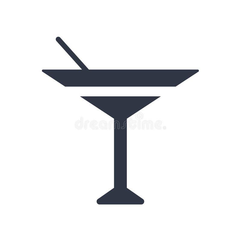 Koktajl na znaku odizolowywających na białym tle szklanym ikona wektoru symbolu i, koktajl na szklanym logo pojęciu ilustracji