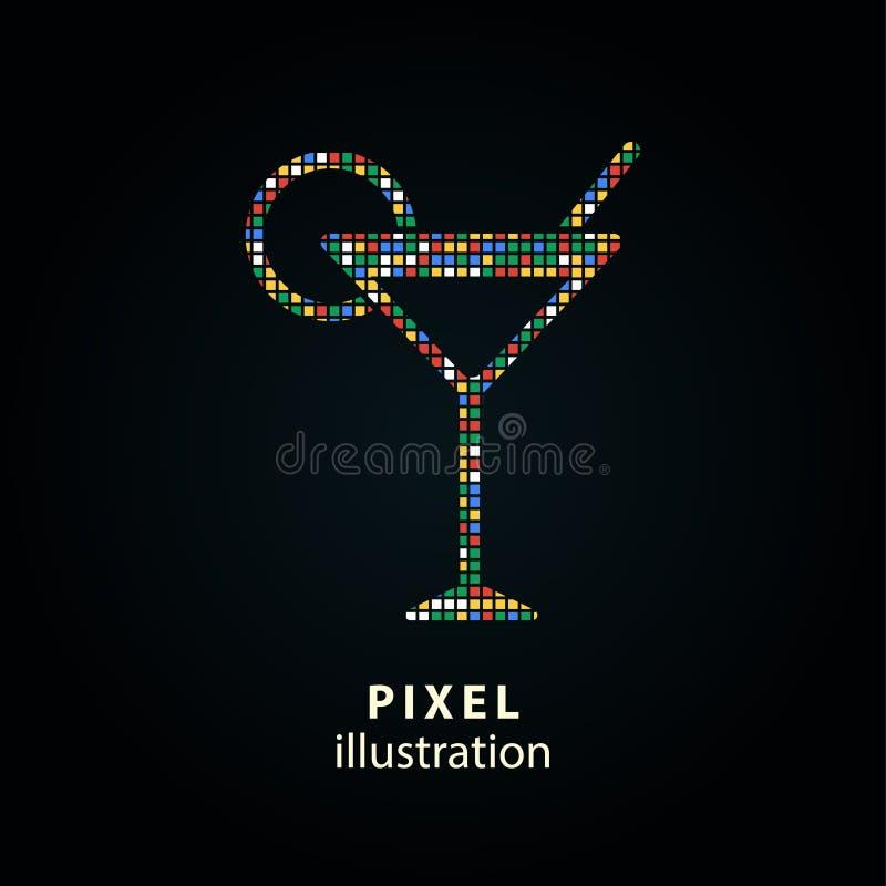 Koktajl - piksel ilustracja ilustracja wektor