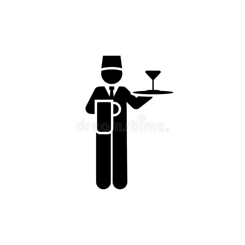Koktajl, usługi, mężczyzna, hotelowa ikona Element hotelowa piktogram ikona Premii ilo?ci graficznego projekta ikona podpisz symb ilustracji