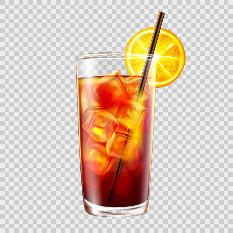 Koktajl w szkle z słomą na tle przezroczystość, long island zamrażał herbaty ilustracji