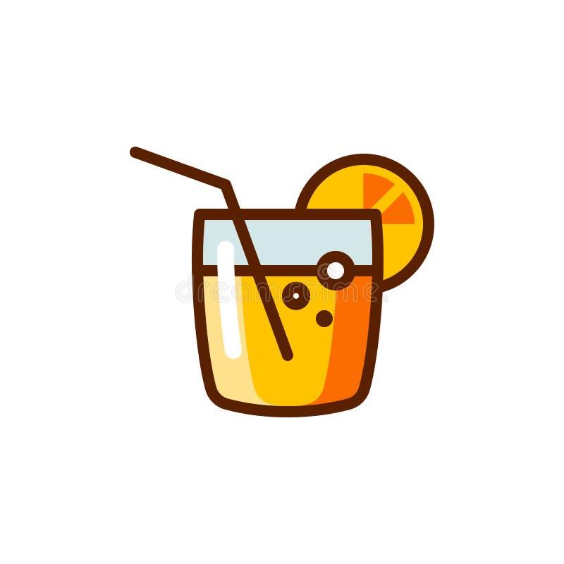 Koktajl z słomianą ikoną Alkoholicznego napoju etykietka dla barów, puby, menu Lata odświeżenia napoju emblemat ilustracja wektor