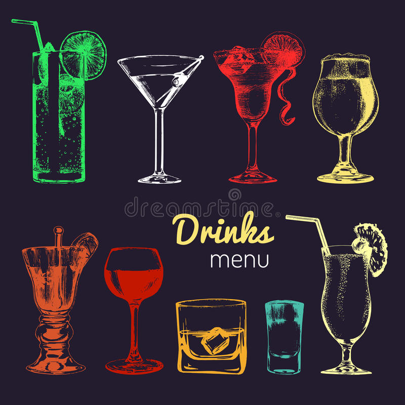 Koktajle, napoje i szkła dla baru, restauracja, cukierniany menu Ręki rysować alkoholicznych napojów wektorowe ilustracje ustawia royalty ilustracja