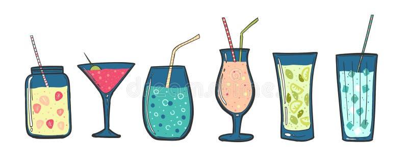 Koktajle ustawiający Alkoholiczni napoje w szkłach z tubkami Lato koktajle Jagodowi smoothies, milkshake i owocowy sok, royalty ilustracja