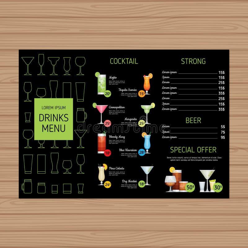 Koktajlu menu projekt Alkohol pije trifold ulotka układu tem royalty ilustracja