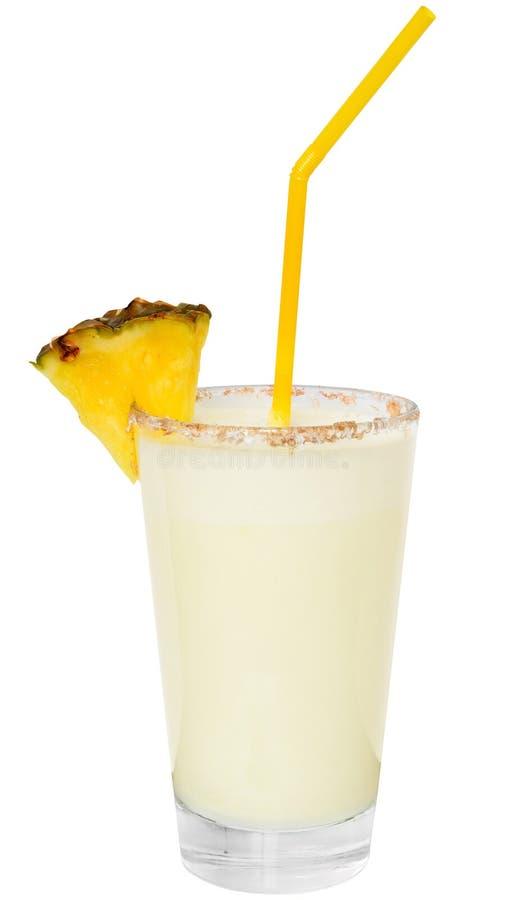 Koktajlu pina colada z ananasowym plasterkiem obraz royalty free