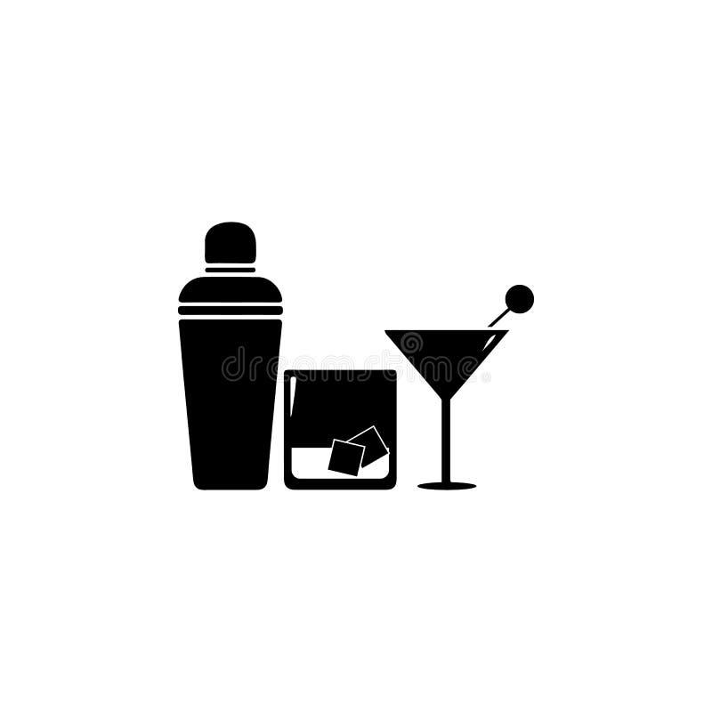 Koktajlu potrząsacz i koktajli/lów szkieł ikona Noc klubu ikona Element miejsce rozrywki ikona Premii ilości grafiki desi royalty ilustracja