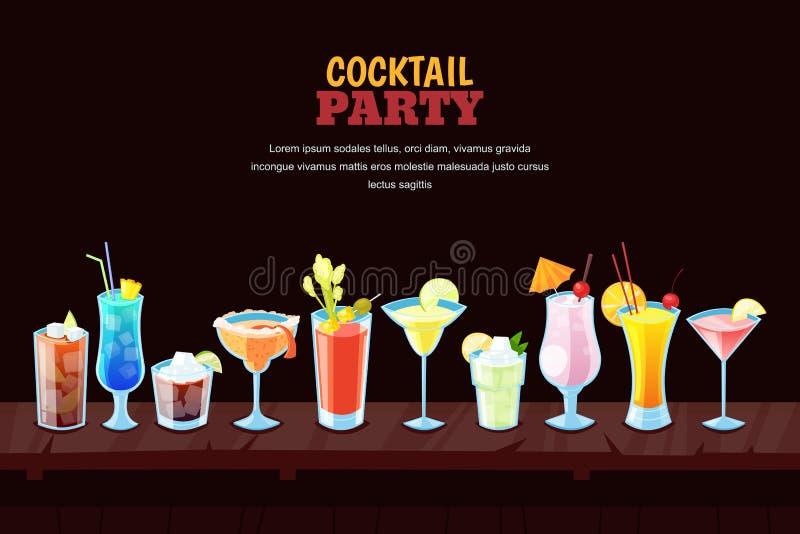 Koktajlu przyjęcia pojęcie Nocy prętowy tło z alkoholów koktajlami na drewnianym baru kontuarze również zwrócić corel ilustracji  royalty ilustracja
