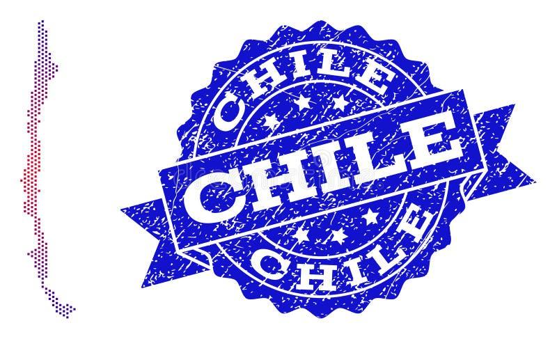 Kolaż Gradiented Kropkował mapę Chile i Grunged znaczek ilustracja wektor