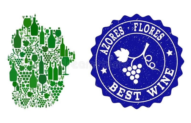 Kolaż Gronowa wino mapa Azores, Flores wyspa i Najlepszy wina Grunge Watermark - royalty ilustracja