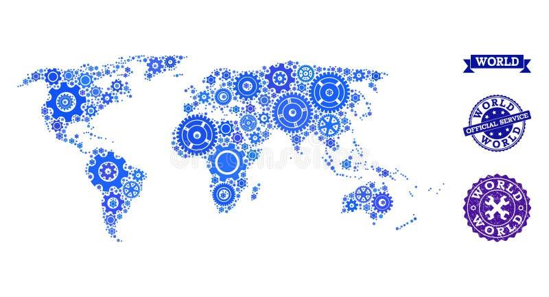Kolaż mapa świat z Cogs i pieczątkami dla usługi ilustracja wektor