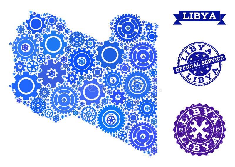 Kolaż mapa Libia z Cogs i Grunge znaczkami dla usługi ilustracji