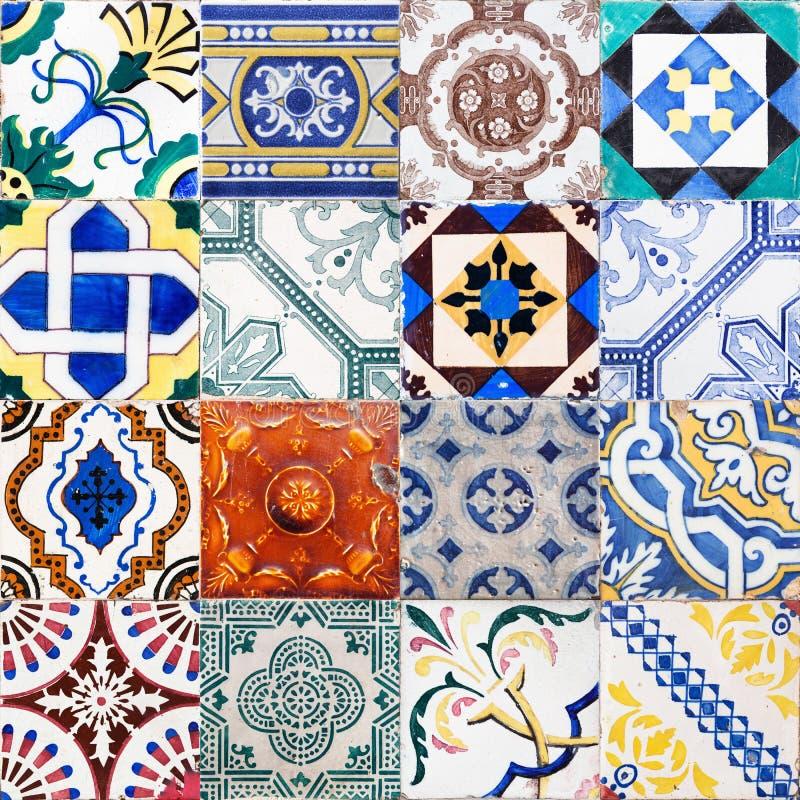 Kolaż antyk płytki od Lisbon zdjęcia stock