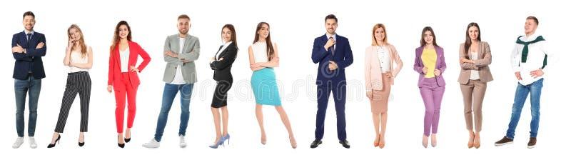 Kolaż atrakcyjni ludzie na bielu Sztandaru projekt zdjęcie stock