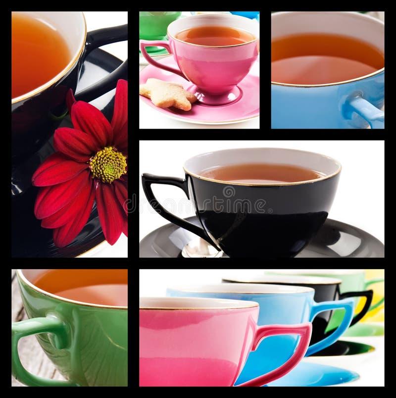 kolaż barwi różnych teacups fotografia stock