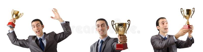 Kolaż biznesmena dostawania nagroda obrazy royalty free