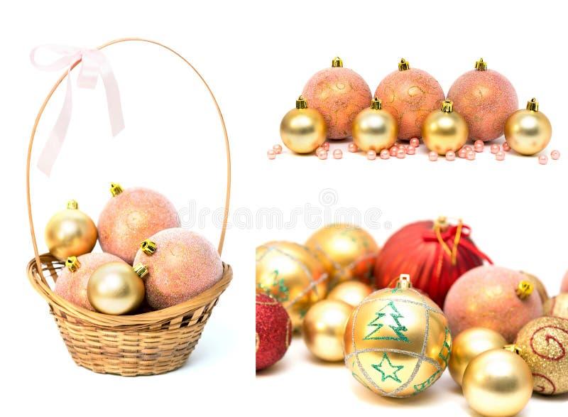 Kolaż Bożenarodzeniowe dekoracj zabawki obrazy royalty free