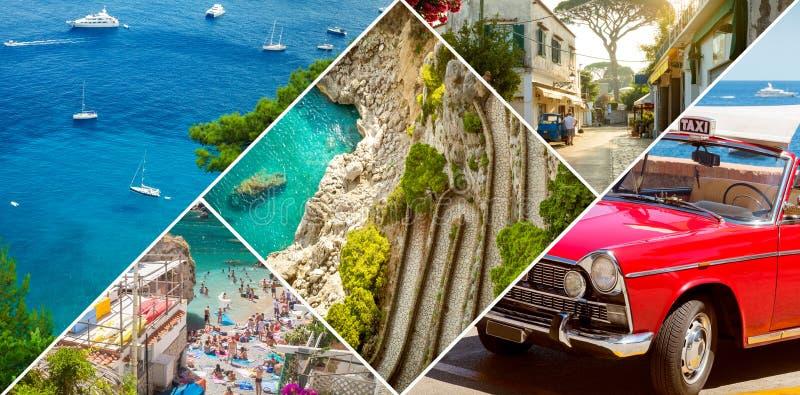 Kolaż Capri wyspa, Włochy obraz royalty free