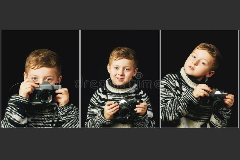 Kolaż chłopiec z kamerą w jego troszkę ręki fotografia stock