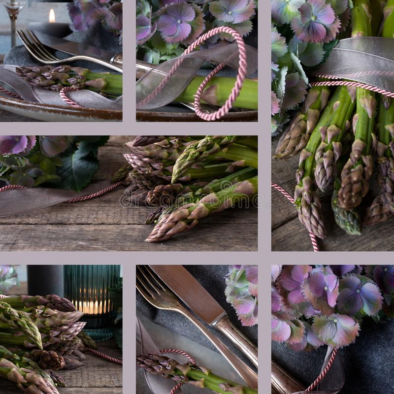 Kola? ciemni atmosferyczni karmowi fotografia motywy z asparagusami zdjęcia stock