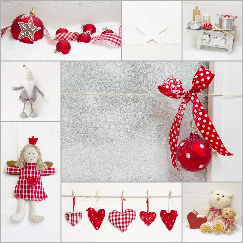 Kolaż czerwieni i białych bożych narodzeń dekoracja zdjęcia stock