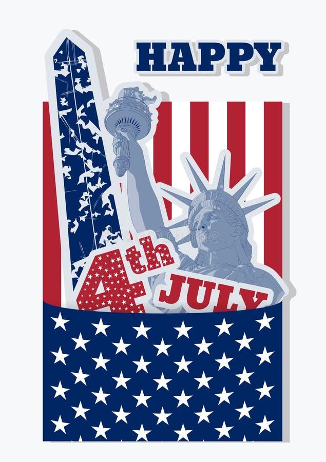 Kolaż dla Lipa świętowania usa fourth Statua Wolności, flaga i zabytek, Retro projekt Amerykańscy symbole ilustracji