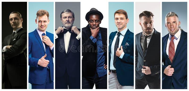 Kolaż eleganccy mężczyzna w kostiumach fotografia stock