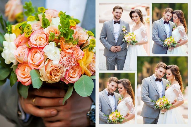 Kolaż elegancki szczęśliwy ślub zdjęcie stock
