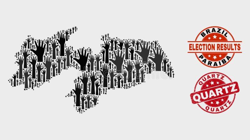 Kolaż Elektoralna Paraiba stanu mapa i cierpienie kwarc Watermark ilustracji