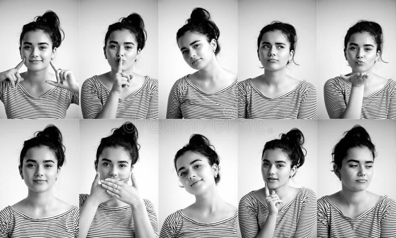 Kolaż emocjonalna dziewczyna na białym tle, Złożony pozytywne i negatywne emocje z dziewczyną, kolaż zdjęcie royalty free