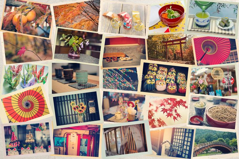Kolaż fotografie brać podczas gdy podróżujący w Japonia na Japońskim papierze stonowany fotografia royalty free