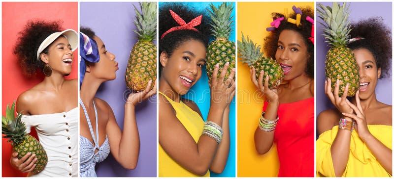 Kolaż fotografie z piękną afroamerykańską kobietą trzyma smakowitego ananasa obrazy royalty free