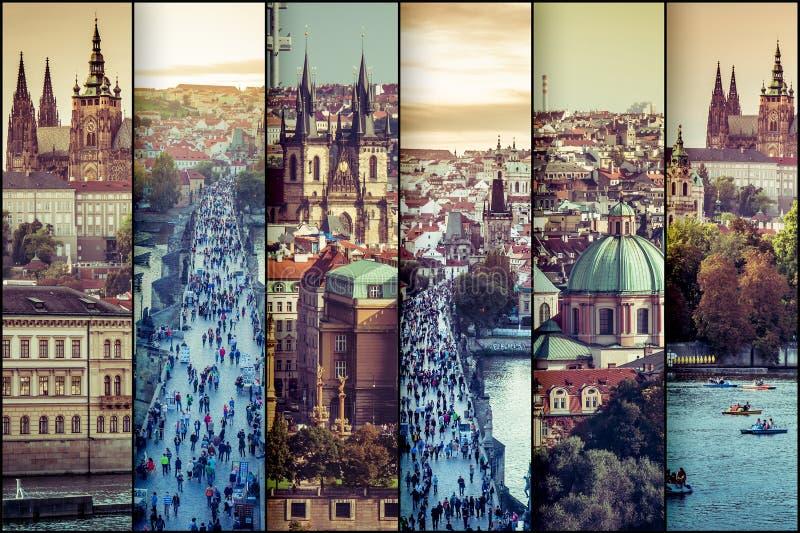 Kolaż fotografii widok stary miasteczko w Praga obraz stock