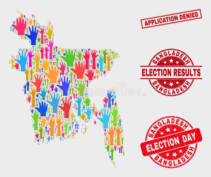 Kolaż głosowania Bangladesz mapa i Porysowany zastosowanie Zaprzeczająca Stemplowa foka royalty ilustracja