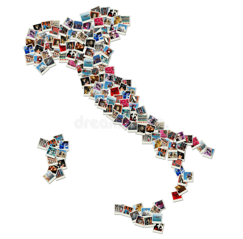 kolaż Italy zrobił mapy fotografii podróży obraz stock