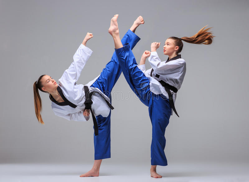 Kolaż karate dziewczyna z czarnym paskiem fotografia stock
