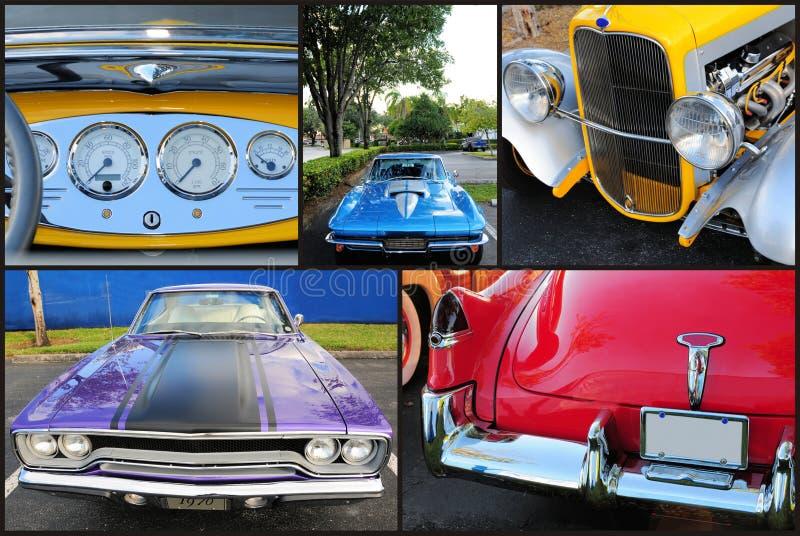 Kolaż klasyczni samochody obrazy royalty free